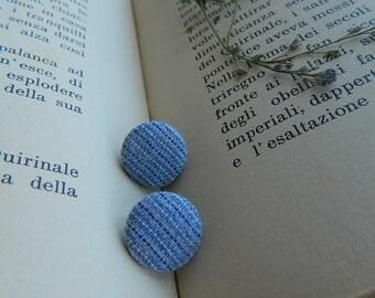 Blue earrings, textile jewelry, earrings fabric, urban look, modern jewelry,