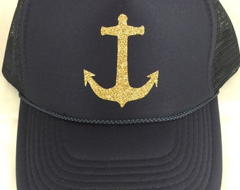DG/DELTA GAMMA/Sorority life/glitter trucker hat/anchor
