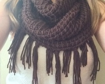 Women's Knit Infinity Scarf with Fringe