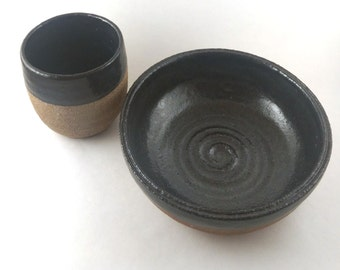 Black and Sand Dish Set