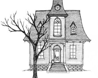 Spooky haunted house Halloween greeting card 5x7