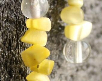 Yellow Glass Stone Earrings