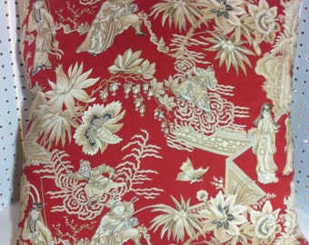 Pillow Cover in Opera Chinoise Hand Printed in Italy for Clarence House with Designer Corners and YKK Invisible Zipper  Red with light Tan