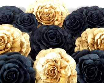 8 large giant crepe paper flowers roses black gold chanele Wall arch decor Photo backdrop wedding kate bridal baby spade shower CENTERPIECE