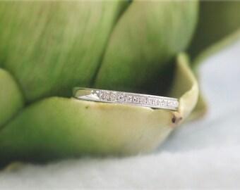 14K White Gold Half Eternity Band Diamond Wedding Band-Engagement Band Wedding Ring Engagement Ring Anniversary Gift For Her