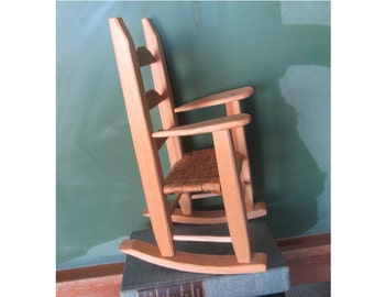 Vintage Miniature Rocking Chair Large Dolls Rocking Chair Unpainted Wooden Rocker Toy Chair