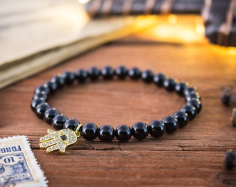 6mm - Black onyx beaded stretchy bracelet with micro pave gold Hamsa hand charm, made to order bracelet, mens bracelet, womens bracelet