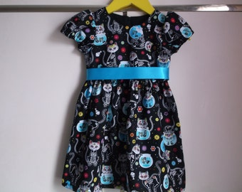 Halloween cats party dress with ribbon