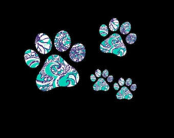 Puppy Paw Print Set of 4 Decals in your choice of preppy patterns and prints!