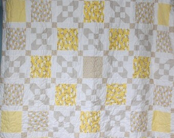 Brushed Cotton Baby Quilt  Yellow Baby Quilt  Nursery Decor