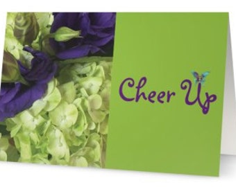 green - hydrangeas - purple rose - 5 x 7 greeting card - purple - lime green - cheer up