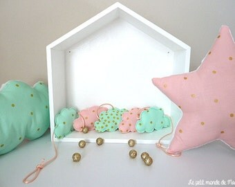 Clouds in pink gold mint fabric Garland