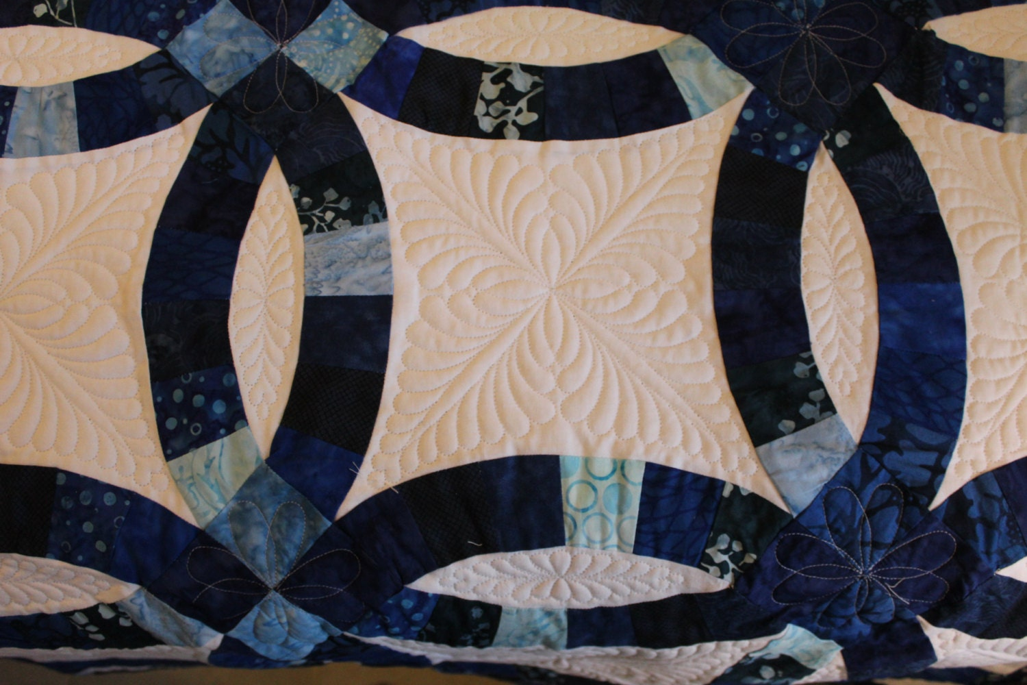 Indigo Blue Double Wedding Ring quilt, Blue Heirloom Handmade King ... : size of twin size quilt - Adamdwight.com