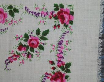 SALE!!Vintage ukrainian scarf, white floral shawl, wool scarf, white wool shawl