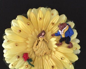 Beauty and Beast hair flower clip with rhinestones