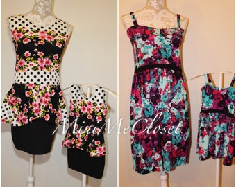 Matching Mother and Daughter Off Shoulder Mini Dress (Mom and Me)