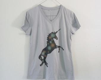 Unicorn galaxy tshirt cotton grey short sleeve **v neck women shirts size S M L