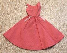 1960s Vintage Barbie Dress - Mattel - Soft Red/Pink - White Trim - Snap Close