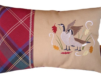 Canada Geese in Autumn, wildlife decorative pillow, birds