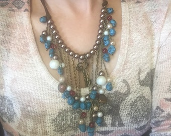 Set Tribal necklace/earings turquoise and pearl