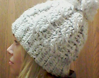 Cable Crochet Touque with Pompom