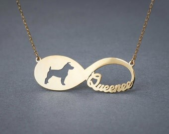 14k Solid Gold Personalised INFINITY JACK RUSSELL Necklace - 14k Gold Jack Russell Necklace - Name Necklace