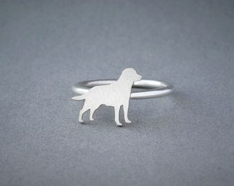 LABRADOR RING / Labrador Ring / Silver Dog Ring / Dog Breed Ring / Silver, Gold Plated or Rose Plated.