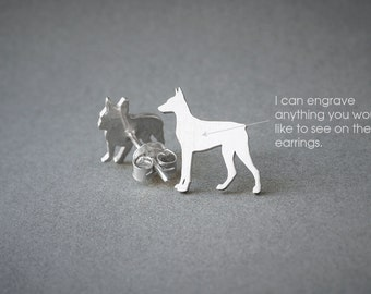 DOBERMAN NAME Earring - Doberman Name Earrings - Personalised Earrings - Dog Breed Earrings - Dog Earring