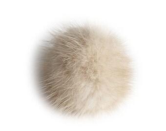 """Lana's 2"""" Real Fur Pom-Pom - Beige/Light Brown* Mink Fur"""