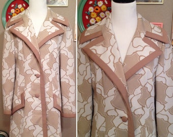 1960's vintage mod groovy Lilli Ann Knit tan patterned jacket/ size small medium