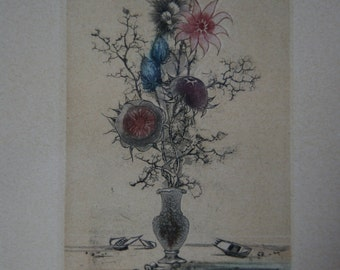 Nice framed coloured lithography signed and numbered