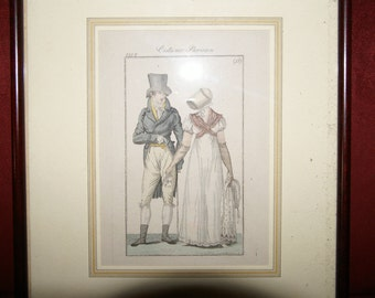 Antique french fashion engraving - Costume Parisien - 1807
