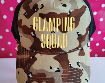 Glamping Squad Camo Trucker Hat. Glamping Hat. Camping Fashion. Camping Hat. Snapback. Camping Gift. Camouflage Hat. Camouflage Trucker Cap.