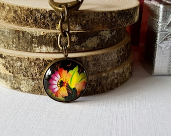 Vibrant Flower on Black Background Cameo Antique Bronze Clasp for Keyring / Keychain / Bag Purse Charm