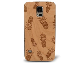 Laser Engraved Hand Drawn Summer Tropical Pineapple Pattern Doodle Inspired on Genuine Wood phone Case for Galaxy S5, S6 and S6Edge S-017