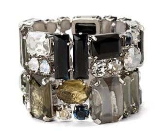 Statement Bracelet Elastic Bracelet Crystal Bracelet Swarovski Crystal Bracelet Wedding Bracelet Cuff Braceletl Statement Bracelet