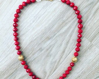 N0082 Faceted Coral Bead Necklace