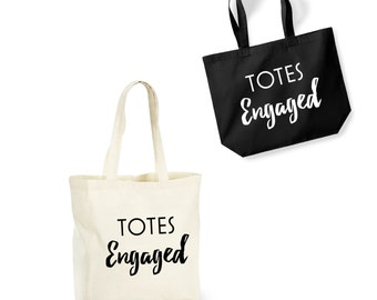 Totes Engaged Cotton Shopping Bag/Tote - Novelty Gift/Bridal Shower/Newlywed/Bride/Hen Party/Fiancee/Wedding