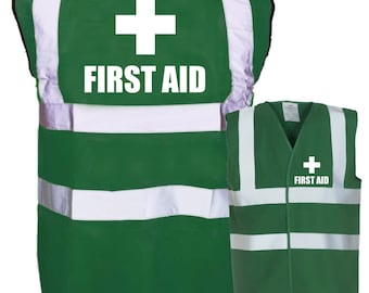 First Aid Printed Green Enhanced Safety Vest Waistcoat Hi Viz/Vis Visibility Workplace/Business