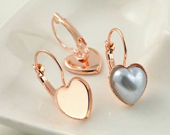 20pcs, 12mm Rose Gold Plated Copper Heart Shape Cabochon Settings - Leverback Earrings - DIY Earring - Bezel Hearts Earring Settings