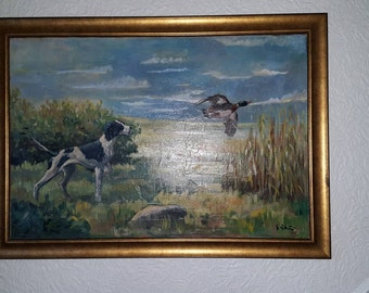 BENDT LAURIDSEN. B 4/4/1926  Copenhagen: English Pointer in Lanscape Setting a Duck Oil on Canvas Very Large Painting