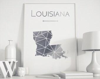 Louisiana art, Louisiana décor, Louisiana map, Louisiana print, silver art, silver print, geometric print, minimalist art, office décor