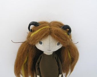 OOAK Art Doll with Horns / Cloth Doll with Horns / OOAK Doll / Fantasy Doll with Horns / Forest Fairy