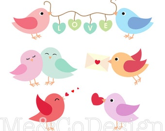 Valentine Birds Clipart, Fun Cute Clipart, Romantic, Instant Download, Personal and Commercial Use Clipart, Digital Clip Art