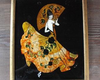 vintage flamenco dancer painting // foil painting // vintage stained glass painting // painted glass // spanish painting