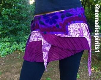 OSFM - purple adjustable wrap pixie skirt- burning man psytrance gypsy