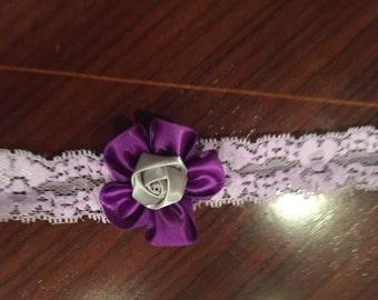 Lace and satin headband purple