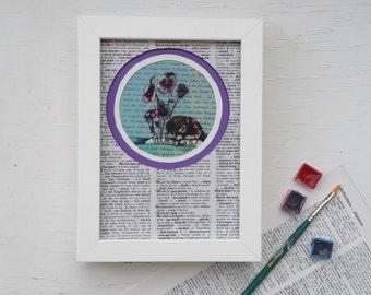 Original, book art print, print purple violets, childrens room print, print little girl, art print flowers, gift booklovers, gift bookworm,