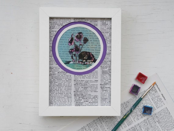 Original, book art print, print purple violets, childrens room print, print little girl, art print flowers, gift booklovers, gift bookworm,
