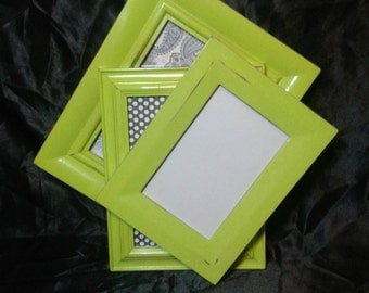 Distressed Picture Frames/Lime Green Shabby Chic Frame Collection / Gallery Wall Frames /5x7 Picture Frames